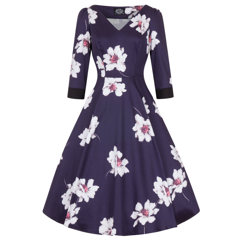 Hearts & pinks London bluee Floral Magnolia Vintage Retro 1950s Flared Tea Dress