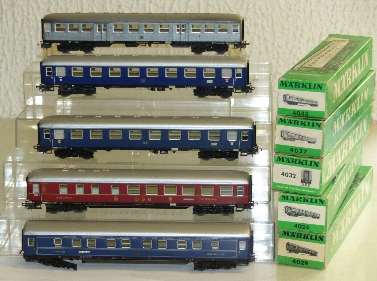 5x Märklin Personenwagen  4027 4032 4024 DSG 4029 Voutre Lits 4043 H0 OVP Blech