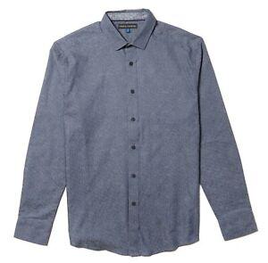 Vince-Camuto-Mens-Long-Sleeve-Shirt-Blue-Gray-Jacquard-Striped-Large-NWT