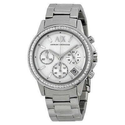 Armani Exchange Chronograph Mother of Pearl Dial Stainless Steel Ladies Watch