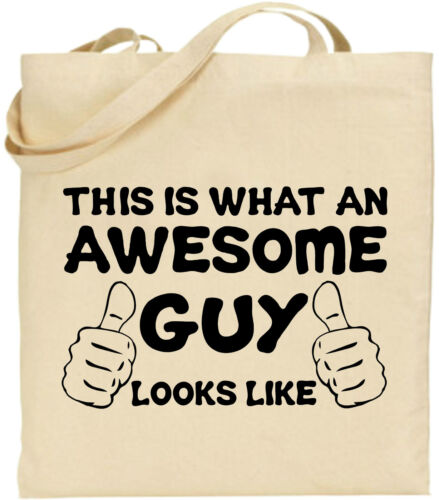 Awesome Guy Large Cotton Tote Shopping Bag Canvas Funny Father Gift Present Dad