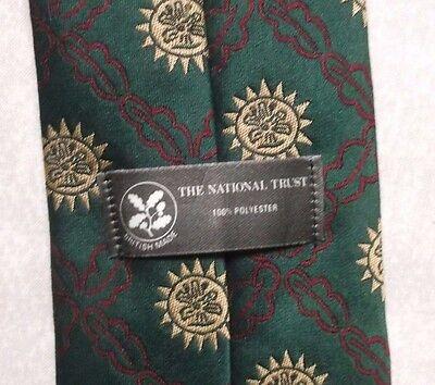 Bellissimo Vintage Tie Cravatta Da Uomo Retrò 1980s Il National Trust Verde Scuro-