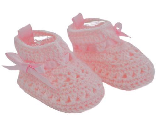 Bebé Chicos Chicas Botines con lazo de la cinta de raso de ganchillo Suave Bebe NB-3M CRS09
