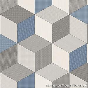 Blue Cubes Retro Modern Pattern Vinyl Flooring Kitchen