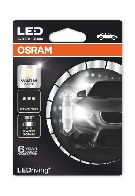 Osram Car LED 36mm 4000K Warm White C5W SV8.5 Festoon Interior Light Bulb 12v