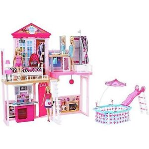 Barbie Set Casa Bambole 3 Casa con mobili e piscina | eBay