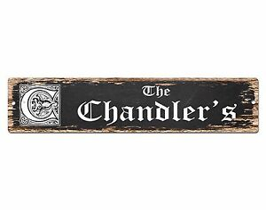 SPFN0379 The CHANDLER/'S Family Name Street Chic Sign Home Decor Gift Ideas
