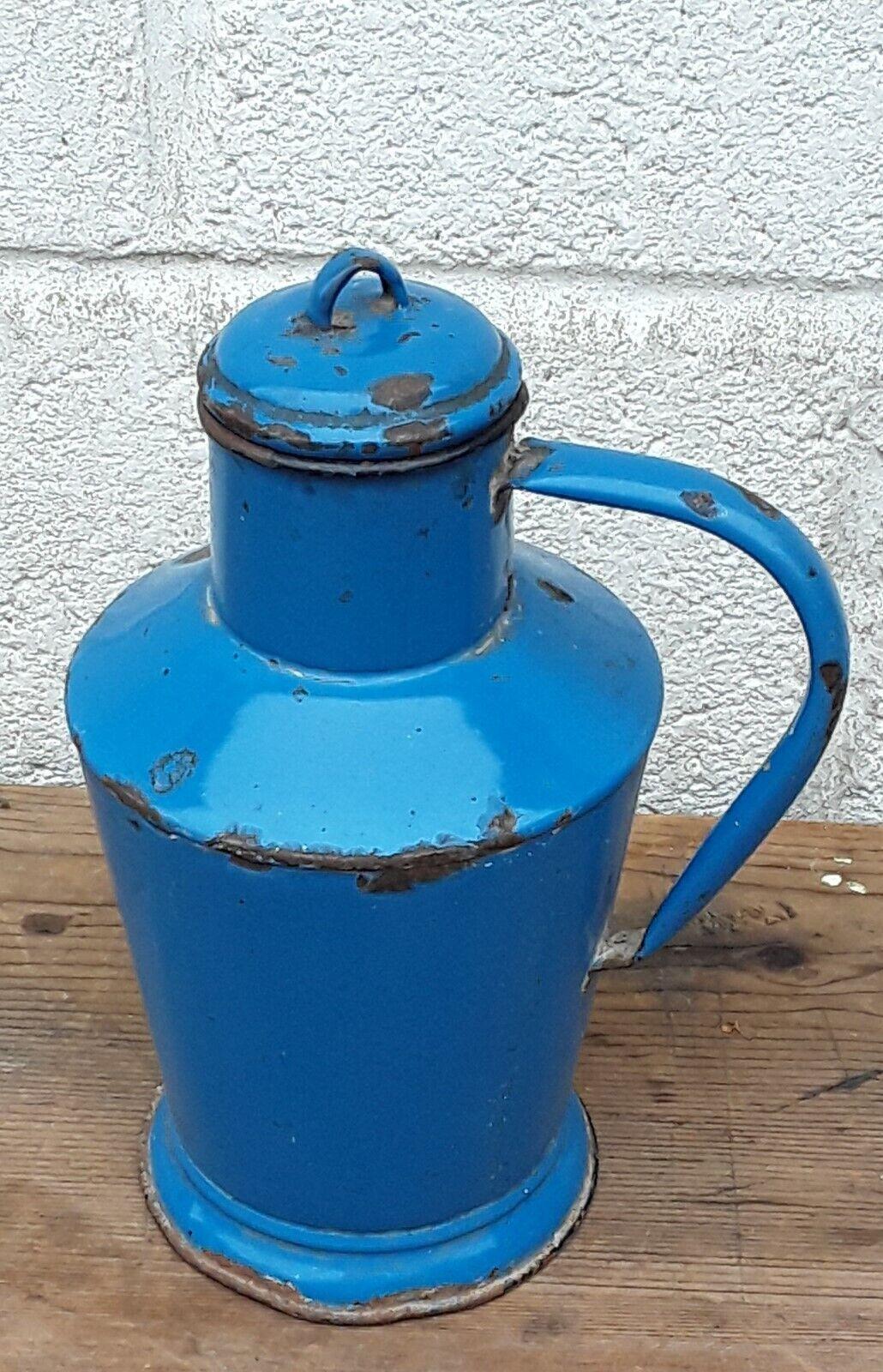 Vintage Enamel Metal Pitcher Jug Handled Hungarian Garden Patio Floor Vase