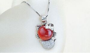Red Garnet Cat .925 Sterling Silver Pendant
