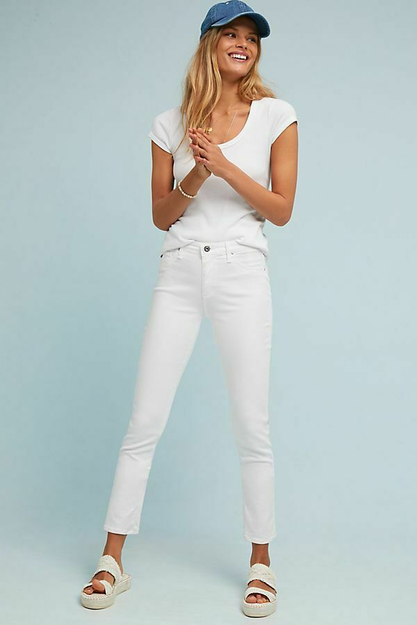 AG Adriano goldschmied Abbey Mid-rise white skinny ankle jeans stretch Size 30