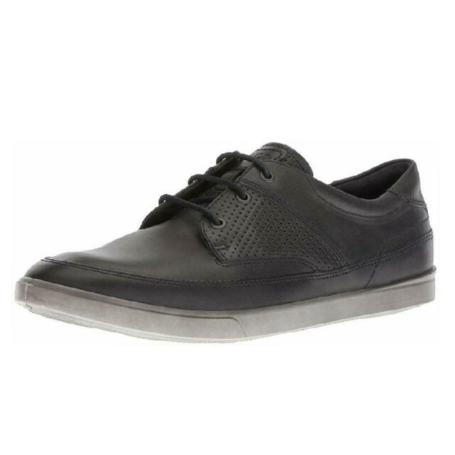 Ecco Men's Collin Nautical Perforated Leather Lace Up Fashion Sneaker Moonless