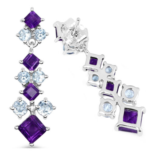 Details about  /Real Amethyst Silver Earrings Square Studs 925 hallmark