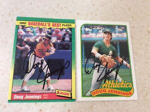 (2) Fleer/Topps Oakland Athletics Doug Jennings Autographed Baseball Cards
