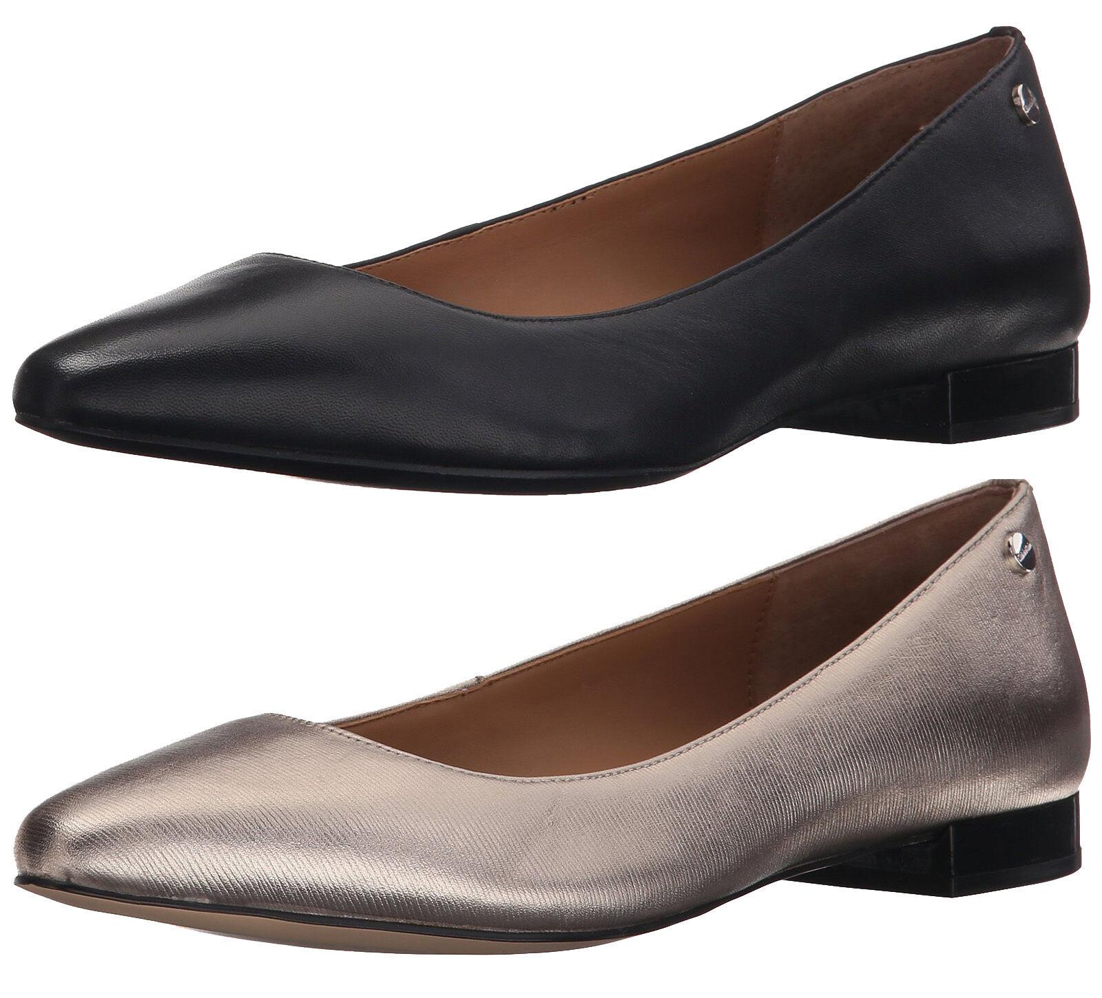 CALVIN KLEIN ELLE NAPPA BLACK METALLIC SOFT PLATINO FLAT LOAFER WOMEN Schuhe AS29