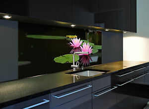 das bild wird geladen glasbild kuechenrueckwand spritzschutz 1021 1 gb seerose 2 - Glasbilder Kuche Spritzschutz