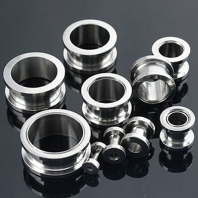 2-14mm Stainless Steel Flared Ear Plugs Expander Stretcher Tunnels Piercing
