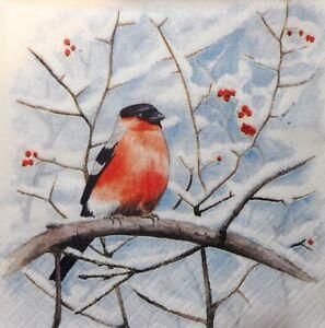 winter cardinal birds  -X127 Christmas 4 Single paper decoupage napkins