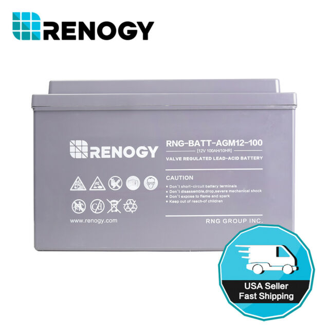 Open Box Renogy 100Ah 12V Rechargeable Deep Cycle AGM Battery Off Grid RV Solar