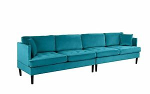Details about Mid Century Modern Extra Large Velvet Sofa, Oversized Living  Room Couch (Blue)