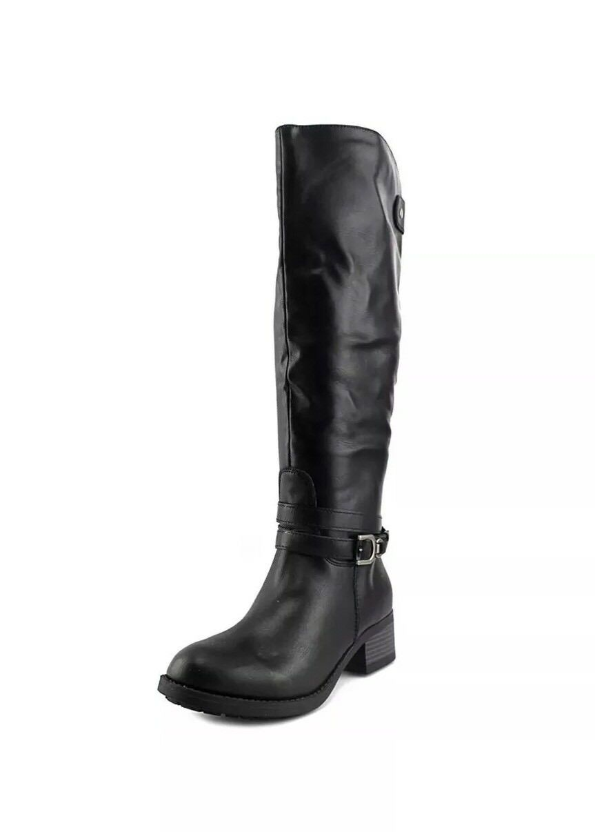 Rampage Womens Imelda Leather Round Toe Knee High Riding Black Boots Size 6.0