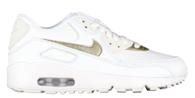 ca297fb633c Nike Girls Air Max 90 White gold Leather Shoe Size 6y Style 833376 ...