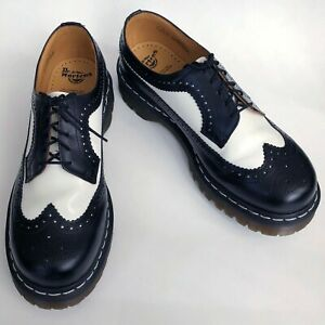Dr-Martens-3989-Ska-Punk-Black-White-Smooth-Leather-Brogue-Shoes-Mens-Size-10