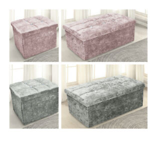 Bedroom 2 Seater Crushed Velvet Ottoman Double Storage Box Bed Foot Stool GREY