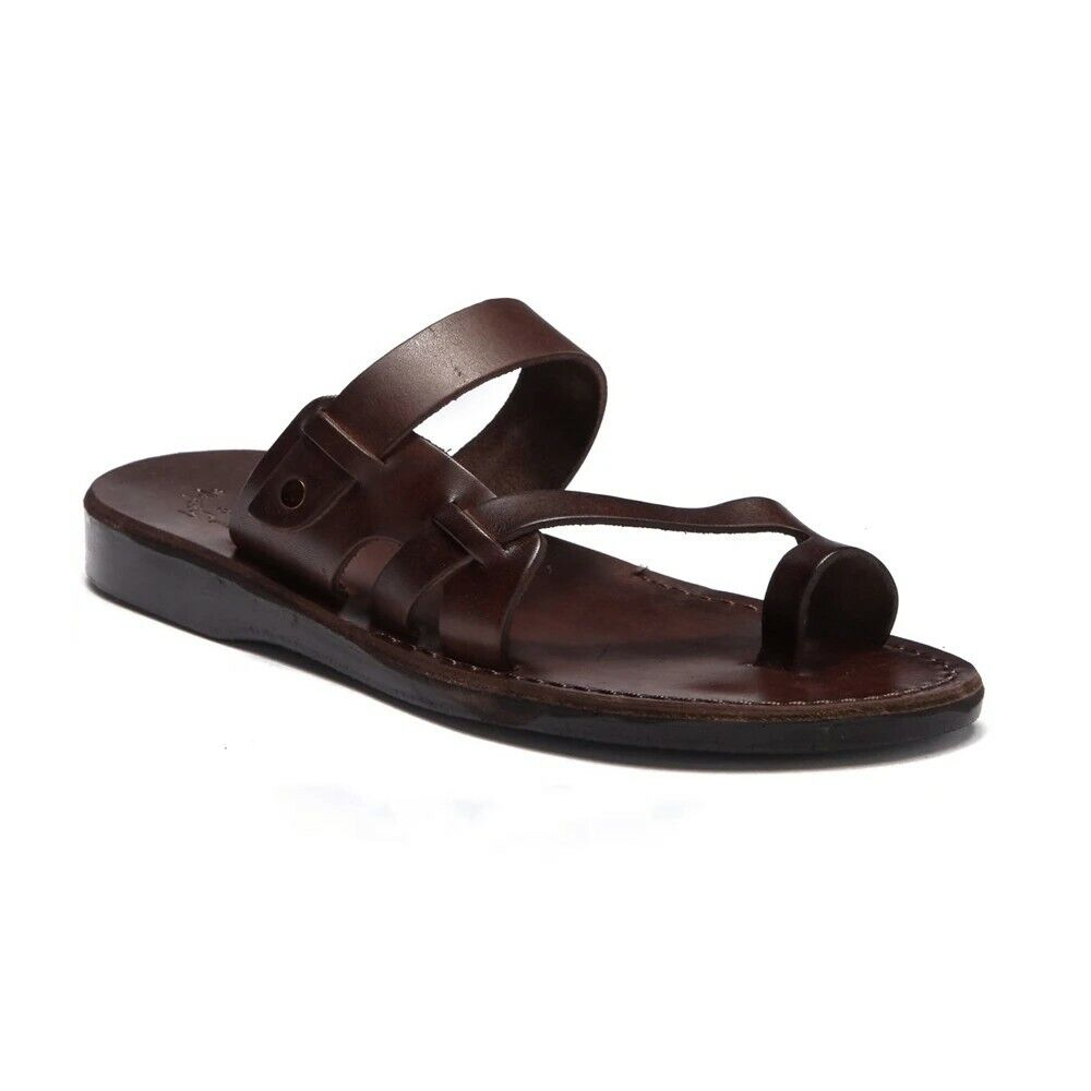 New Men's JERUSALEM Brown Jabin Toe Loop Sandals size EUR 47/US13.5