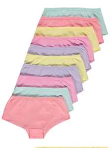 10 Paires Filles Pastel Court Culottes Slips Sous-Vêtements Âge 4-16 Ans