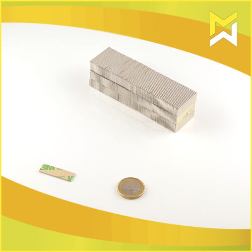 10 NEODYM QUADER MAGNETE SELBSTKLEBEND 20x10x1 mm NDFEB Güte N45 KLEBE 3M 467
