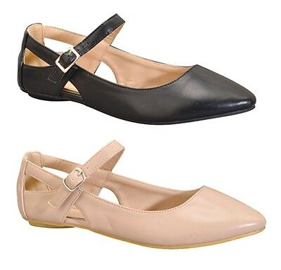 New Pointy Toe Cut Out Mary Jane Ankle Strap Leatherette Classic Ballet Flats