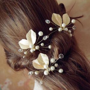 2x-Pince-Cheveux-Epingle-Bijoux-Perle-Fleur-Feuille-Soiree-Mariage-Coiffure-Mode