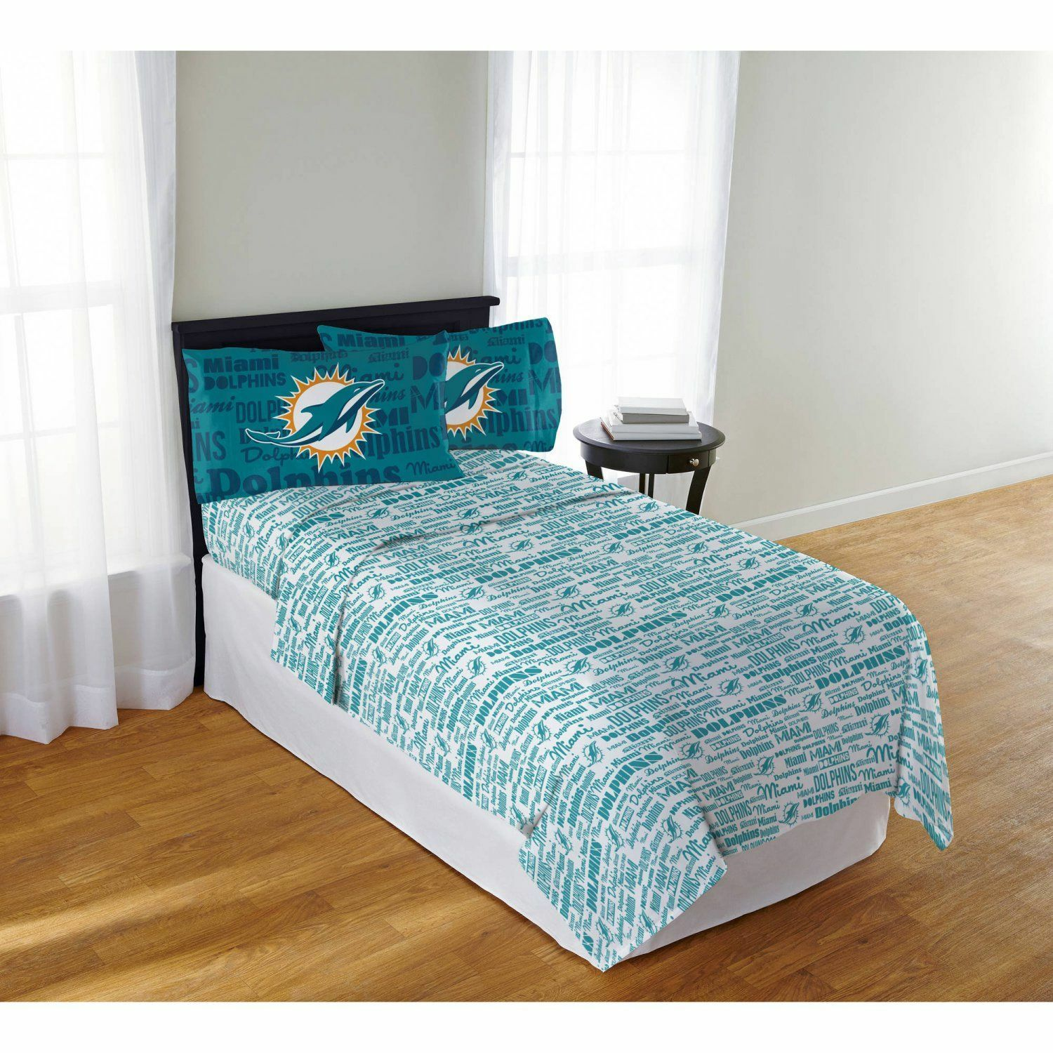 Miami Dolphins Sheet Set NFL Full Bed Fitted Flat Sheets Boys Team Bedding