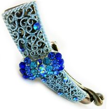 USA Hair Clip Handmade Haripin barrette Crystal satin PIN Claw grip flower BLUE