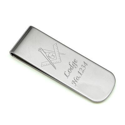 Silver Plated Mason Money Clip Engraved Free Masonic Freemasons Lodge Number