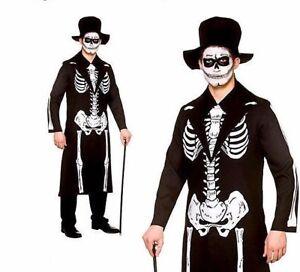 Giorno dei Morti Da Uomo Halloween Fancy Dress VOODOO Scheletro Uomo Adulto Costume