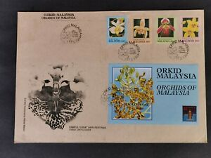Malaysia-1994-orchids-stamps-amp-MS-on-private-brown-FDC