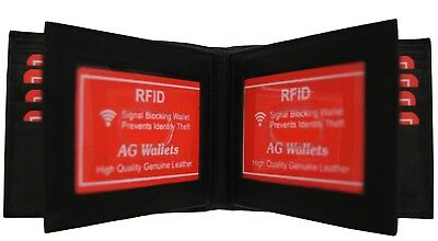 Bifold Mens wallet Credit Card Double Center Flap ID Holder Cowhide Leather BLK