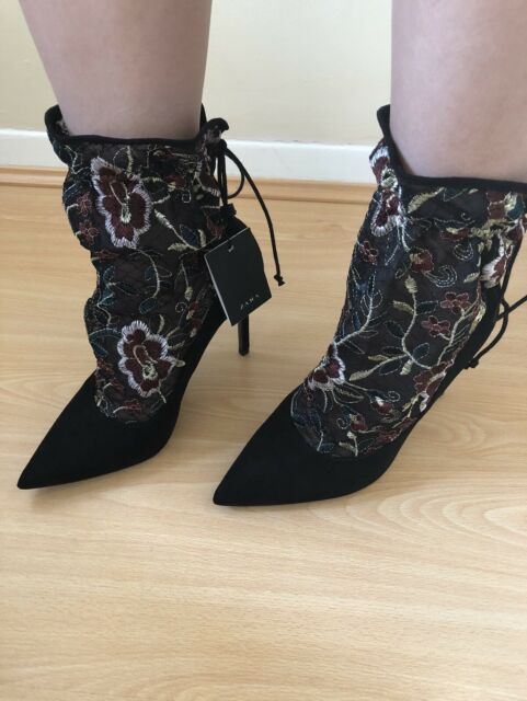 c7a47ba50e5 Zara Black Embroidered High HEELS Shoes Size UK 3 for sale online