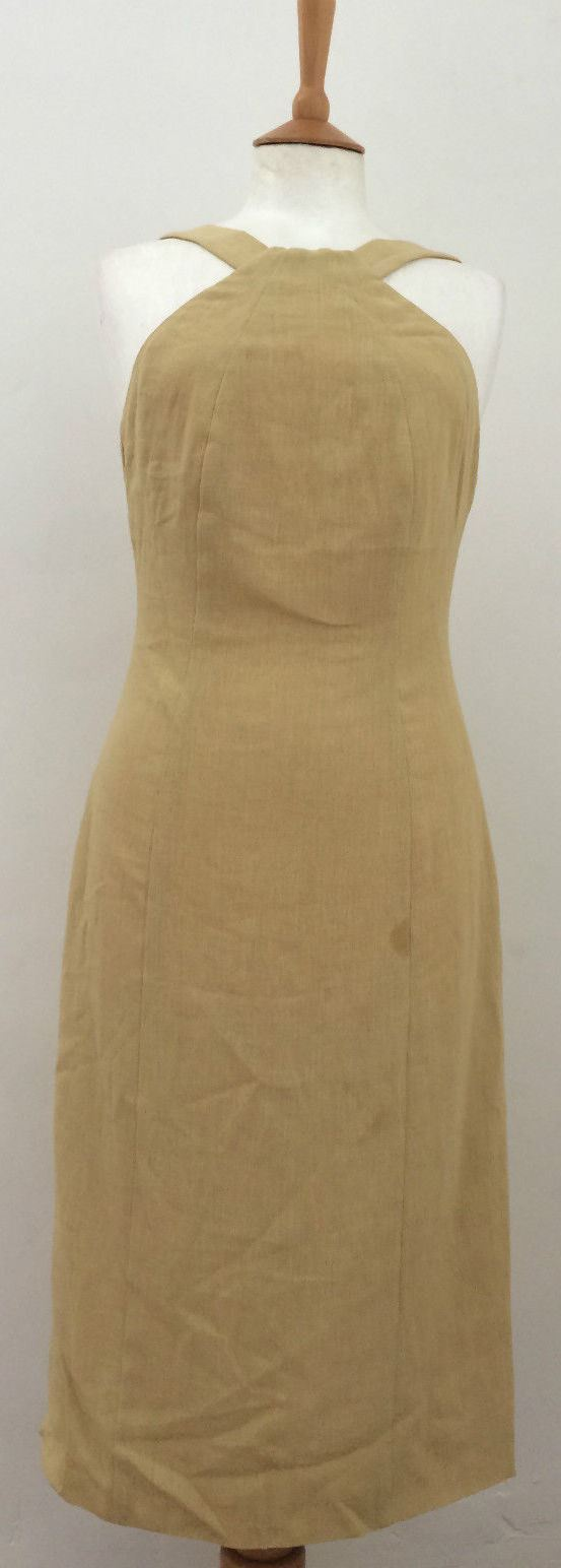 Sand linen fitted strap detail calf length dress by Armani 40