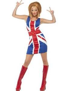 """Ginger Spice Girl Costume, Union Jack Robe, Med 12-14, Femme, Années 1990 Fancy Dress-990's Fancy Dress"""" afficher Le Titre D'origine Marchandises De Proximité"""