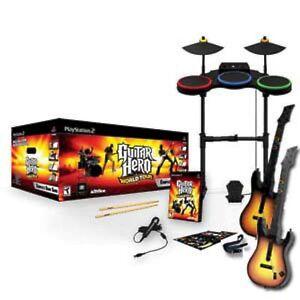 ps2 guitar hero world tour w 2 guitars band set drums game playstation 2 used 47875954816 ebay. Black Bedroom Furniture Sets. Home Design Ideas