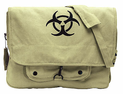 Khaki Vintage Canvas 'Bio-Hazard' Military Style Paratrooper Shoulder Bag
