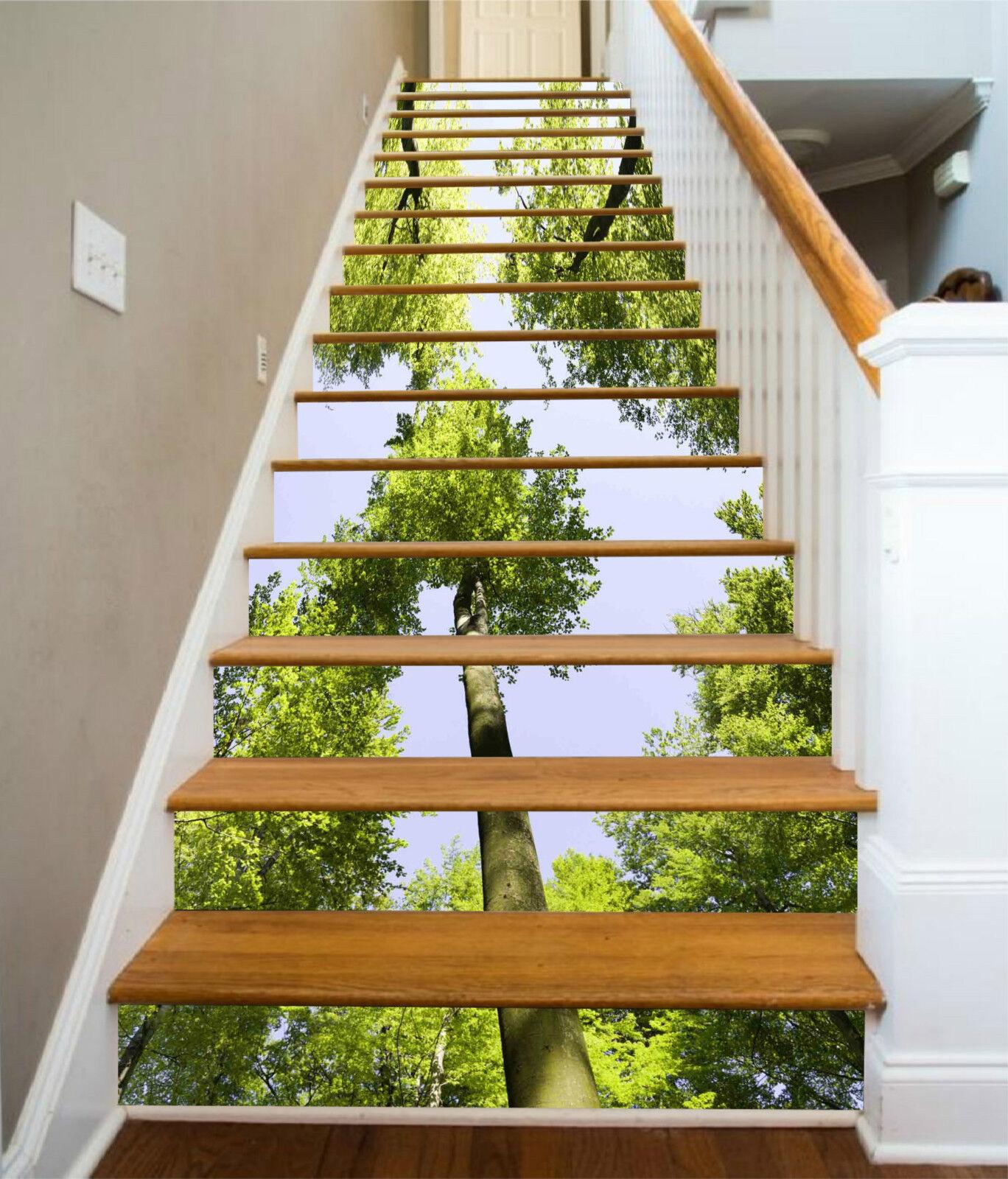 3D Hohe greene Baum Stair Risers Dekoration Fototapete Vinyl Aufkleber Tapete DE