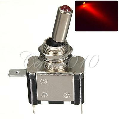 12V 20A LED Dot Light Car Toggle Switch Control ON-OFF Silver DC Red NEW