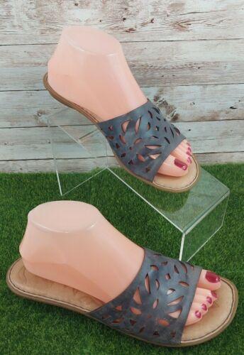 Born Womens Slides Sandals GRAY  Leather SSlip On
