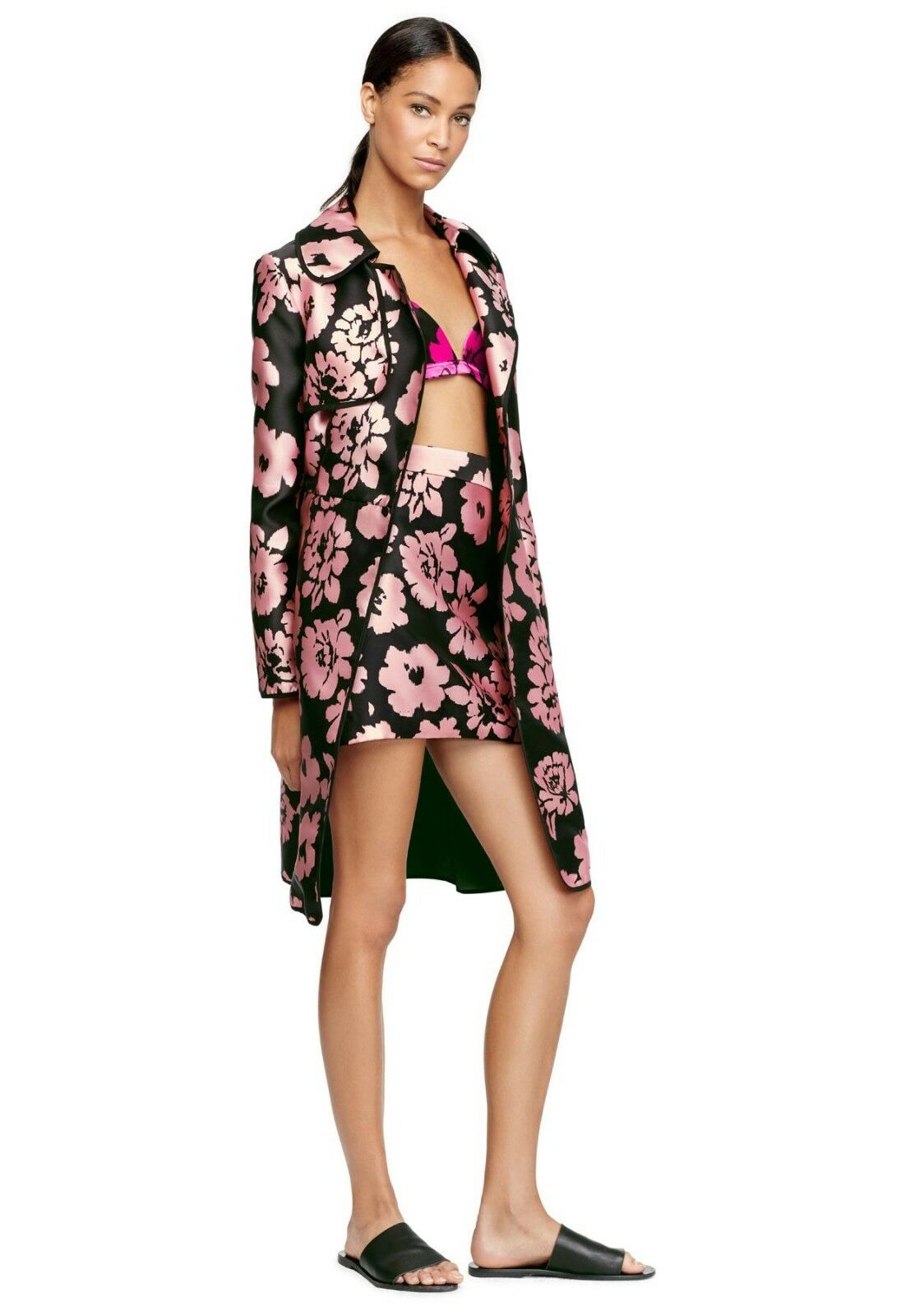 Milly Floral print trench coat italian fabric NWT 14