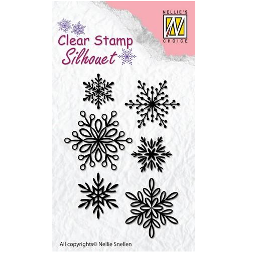 Nellie`s Choice Silhouette Clear Stamps 6 Schneeflocken SIL039 65x23mm 102439