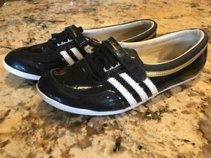 Details about Adidas Sleek Series Concord Slipper Ballerina Black Gold Trainer Shoes Size 7