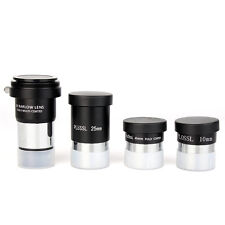 1.25 Plossl Telescope Eyepieces Set 4/10/25mm+Barlow Lens(2X) For Astronomy